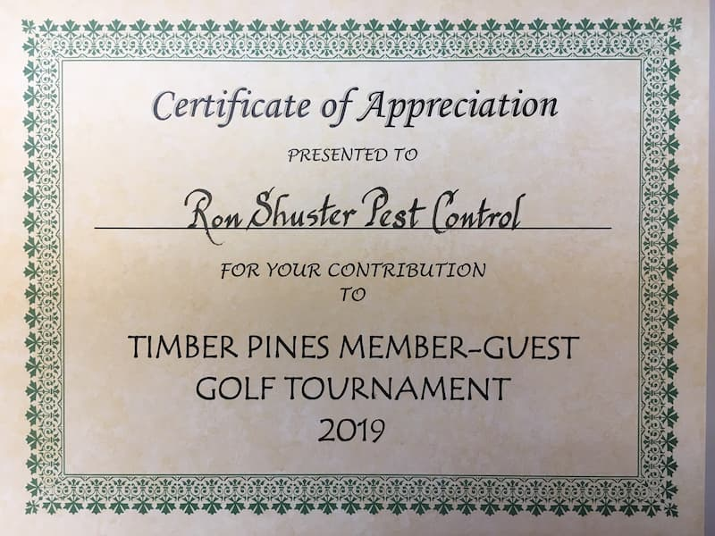 Ron Shuster Pest Control Spring Hill Certificate of Appreciation from Timber-Pines
